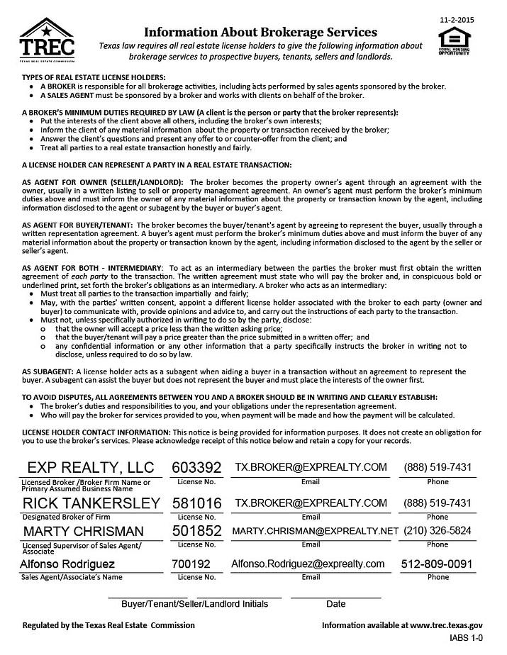 Austin Realtor Fonz Information About Brokerage Services